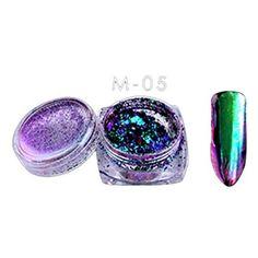 OHQ DéColoration De La Poudre De Miroirt 6 Couleurs Poudre Flocons Nail Bling Miroir Shimmer Poudre Nail Art Glitter Decora (Multicolore):…