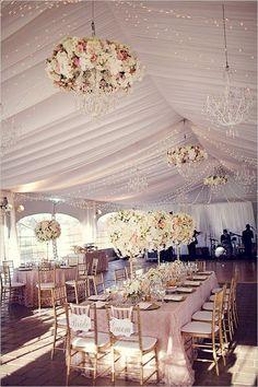 fancy tent wedding with flower chandelier decor ideas - Deer Pearl Flowers