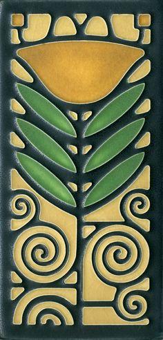 4x8 Dard Hunter Poppy in Green Oak by Motawi Tileworks