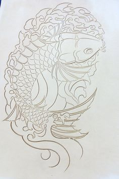 Hand carved embossed leather koi fish от LawsonLeather на Etsy