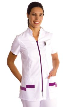 € 25,70 - Casaca Señora Cremallera Lila - 8293-859 Birthday Souvenir, Staff Uniforms, Scrubs Uniform, Diy Couture, School Uniform, Work Wear, Chef Jackets, Suits, Womens Fashion