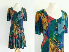 Vintage CAROLE LITTLE 90s Floral Tropical Dropwaist Dress US 6 Eu 38 Uk 10 Hawaiian Grunge Festival Boho