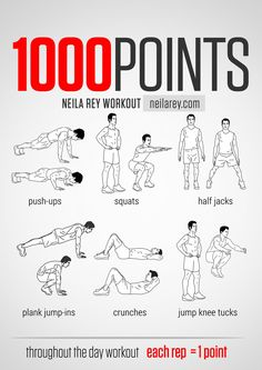 100 Points Throught the Day Workout / works: chest, triceps, lower abs, upper abs, adductors, calves, quads. This one does a lot.