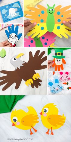 Find lots of cute, easy, and fun hand print crafts for the kids to make all throughout the year! They are great for young children and come with free printable templates. Christmas Handprint Crafts, Reindeer Handprint, Santa Crafts, Reindeer Craft, Handprint Art, Fish Crafts, Bunny Crafts, Projects For Kids, Crafts For Kids