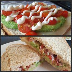 Toasted avocado, tomato, mozz cheese, mayo sandwich. Mmmmmm....