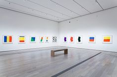 Installation view, Ellsworth Kelly: Prints and Paintings, Los Angeles County Museum of Art, January photo © Museum Associates/LACMA Ellsworth Kelly, Exhibition Room, Exhibition Display, Display Design, American Artists, Art And Architecture, Line Drawing, Abstract Art, Abstract Paintings