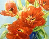 Tulips painting on ceramic tile still life original art Tulips in the morning light via Etsy Tulip Painting, Hand Painting Art, Morning Light, Still Life, Tulips, Original Art, Tile, Hand Painted, Ceramics