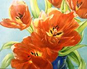 "Tulips painting on ceramic tile still life original art  ""Tulips in the morning light"""