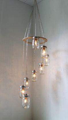 Mason Jar Chandelier Mason Jar Lighting Spiral by BootsNGus, $200.00