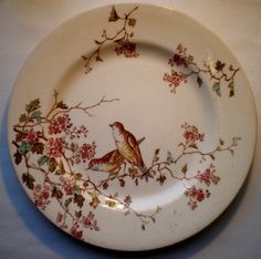 French ART Nouveau Majolica Plate Signed Luneville Bird Warblers AND Flowers | eBay
