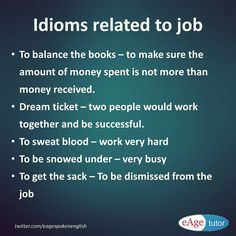 Idioms related to job. Idioms And Phrases, Job Career, English Idioms, Learn English, Language, Learning, Instagram Posts, Learning English, Studying
