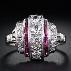 Diamond and Ruby Art Deco Dinner Ring Circa 1925