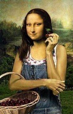 Eat my cherry. Mona Lisa Smile, Lisa Gherardini, Monet, Portrait, La Madone, Mona Lisa Parody, Hokusai, Famous Artwork, Art History