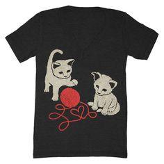 Kittens  Vneck Tshirt Cute Fun Adorable Friends by GnomEnterprises, $25.00