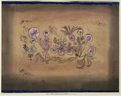 Paul Klee, Medicinal Flora, 1924 Watercolor and transferred printing ink on paper, bordered with gouache and ink, mounted on cardboard  on ArtStack #paul-klee #art