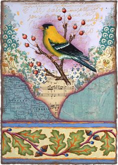 PRINT art mixed medium collage bird goldfinch by RachelPaxon