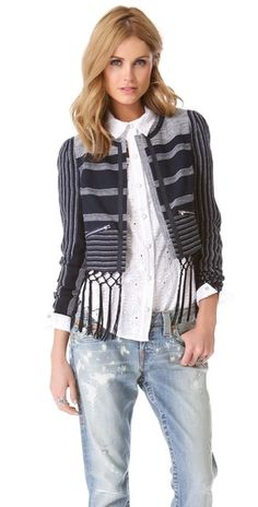 ::Take 25% off Shopbop SALE with code SALE25:: Rebecca Minkoff Emerson Fringe Linen Jacket | $83