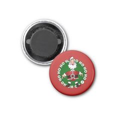 Santa Claus laughing: Ho Ho Ho and wishing everybody a merry Christmas. #Magnet #Zazzle #Cardvibes #Tekenaartje #SOLD