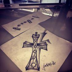 #cruz #tattoo #tatouage #draw #ink #croix #gun
