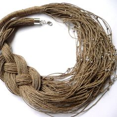 Linen bib  necklace  linen necklace  jewelry eco jewelry natural linen art gift linen thread natural color Bib necklaces handmade