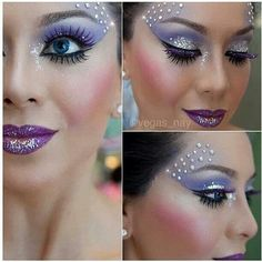 Purple, bejeweled, glittery makeup . It's very heavy and elegant.