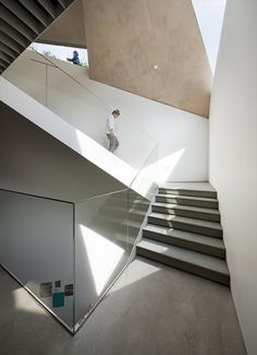 Songwon Art Centre by Mass Studies Space Architecture, Architecture Details, Dynamic Architecture, Interior Stairs, Interior And Exterior, Modern Interior Design, Stairways, Building Design, Glass Handrail