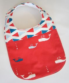 Organic Baby Bibs -  Nautical Baby Bib / Baby Whales / Navy and Red / Babiease Baby Boutique / Custom Baby Gift Sets.