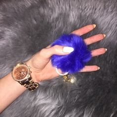 c1028af34931 Cobalt Blue Puff Ball Keychain Brand new! NOT authentic MK Michael Kors  Accessories Key