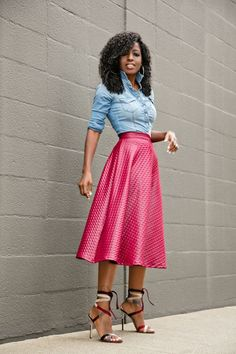 Fitted Denim Shirt + Swing Midi Skirt