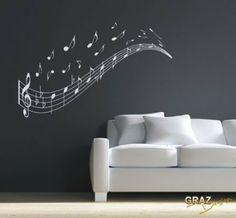 Wandtattoo Wandaufkleber Musik Noten Zeile Schlssel Wandgestaltung Wohnzimmer Grsse92x57cm Farbe