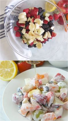 Salad Creamy Yogurt Fruit Salad is a delicious alternative to a sweet dessert! Packed with lots of fruit, greek yogurt and honey, this salad will not disappoint! Fruit Salad With Yogurt, Creamy Fruit Salads, Fruit Salad Recipes, Dessert Recipes, Fruit Fruit, Dessert Salads, Drink Recipes, Good Food, Yummy Food