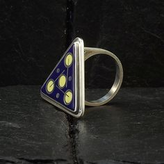 Items similar to Cloisonne Enamel Ring - size 8 ring - floral design - cobalt blue ring - sterling silver ring - handmade ring - unique ring on Etsy Cobalt, Earring Set, Poppies, Gemstone Rings, Silver Rings, Enamel, Unique Jewelry, Handmade Gifts, Floral