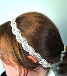 Mint Green and Rhinestone Ribbon Headband by SomethingColorful, $60.00 #wedding #bride #dteam
