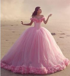 2016 New Arabic Quinceanera Ball Gown Dresses Puffy Off Shoulder Tulle Pink Flowers Cathedral Train Sweet 16 Cheap Party Prom Evening Gowns Online with $198.96/Piece on Haiyan4419's Store | DHgate.com