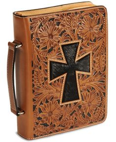 Floral Tooled Hair On Cross Leather Bible Cover