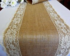 Burlap table runner wedding table runner with vintage ivory lace rustic romantic wedding