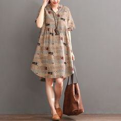 Khaki print summer shift dress long blouseThis dress is made of cotton linen fabric, soft and breathy, suitable for summer, so loose dresses to make you comfortable all the time.Measurement: One Size: length 96cm / 37.44