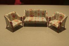Maison de poupées Vert fauteil Canapé Victorien Miniature Living Room Furniture
