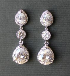 Crystal CZ Bridal Earrings Bridal Crystal Teardrop by JamJewels1