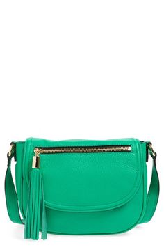 MILLY 'Astor' Tasseled Pebbled Leather Saddle Crossbody Bag. #milly #bags #shoulder bags #leather #crossbody #