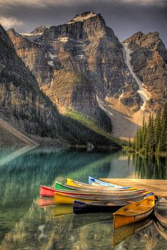 Canoes at Moraine Lake in Banff National Park by JD Colourful Lyte. ~Color My World~ Moraine Canoes The Canoes at Moraine Lake in Banff National Park, what a spectacular setting. Places Around The World, Oh The Places You'll Go, Places To Travel, Around The Worlds, Travel Destinations, Parc National De Banff, Beautiful World, Beautiful Places, Beautiful Park