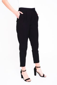 7a6d99f691 Pleated Classic Trousers-Black