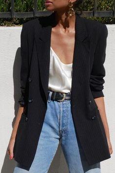 Black oversize blazer, silk camisole and blue jeans . - Black oversize blazer, silk camisole and blue jeans . - Black oversize blazer, silk camisole and blue jeans Outfit Jeans, Denim Outfits, Mode Outfits, Black Blazer Outfits, Chic Outfits, Dress Outfits, Classy Outfits, Blazer Outfits For Women, Woman Outfits