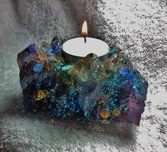 """Kyanite Sand """"Crystal Cluster"""" Orgonite Tea Light Candle Holder ~ shimmering blu by KomacOrgonite on Etsy"""