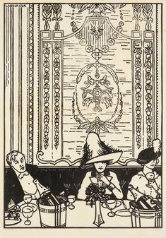 JEAN-ÉMILE LABOUREUR (1877-1943)... Le Souper montmartrois. 1912. Bois gravé. 250 x 358.