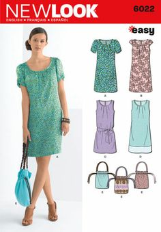 New Look Sewing Pattern 6022 - Misses' Dresses & Bag Sizes: A (6-8-10-12-14-16)
