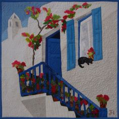 Small Art Quilt, Textile Wall hanging, city landscape quilt, textured quilt, Greek town, Cat art quilt, Home Decor, bougainvillaea, blossom street, pink bright flowers  DESCRIPTION  The bougainvillaea #2 Measures are 20(w)x20(h) or 50 cm(w) x 50 cm(h).  This is OOAK mini art quilt. Its very bright and joyful mini wall hanging. Its just a quiet corner of a small Greek town. All around is very bright: sky, white houses with blue windows, colorful bougainvillea flowers. The streets of the town…