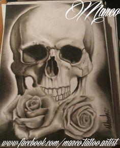 desenho, draw, carvao, charcoal, art, arte, skull, caveira, rosa, rose, realismo, realism, tattoo, tatuagem