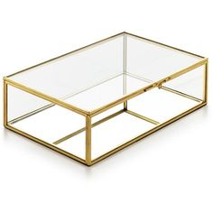 Home Design Studio Medium Glass Box, ($40) ❤ liked on Polyvore featuring home, home decor, jewelry storage, no color, glass jewellery box, vintage style home decor, glass home decor and jewellery box