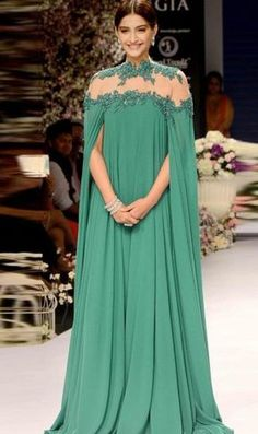 Evening Dress A-line Green Long Sleeves Appliques Chiffon Long Evening Dresses Prom Dress sold by cutebridal. Shop more products from cutebridal on Storenvy, the home of independent small businesses all over the world. Indian Dresses, Indian Outfits, Eid Outfits, Dress Outfits, African Fashion, Indian Fashion, Hijab Fashion, Fashion Dresses, Fashion Clothes